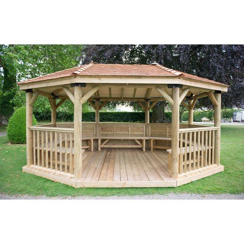 5 3m X 3 8m Wooden Gazebo With Cedar Roof And Benches Bel Etage