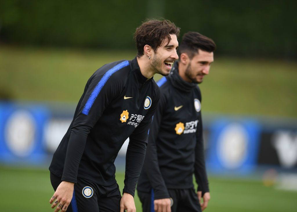 COMO, ITALY - NOVEMBER 02:  Sime Vrsaljko of FC Internazionale reacts during a training session at the club's training ground Suning Training Center in memory of Angelo Moratti at Appiano Gentile on November 1, 2018 in Como, Italy.  (Photo by Claudio Villa - Inter/Inter via Getty Images)