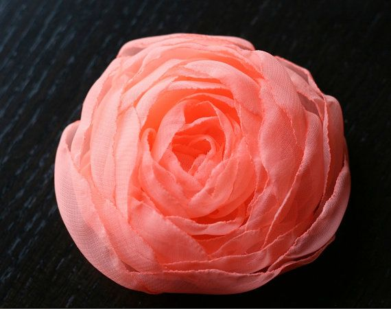 Bright Coral Small Rose Wedding Accessory by MermaidenCreations, $15.00
