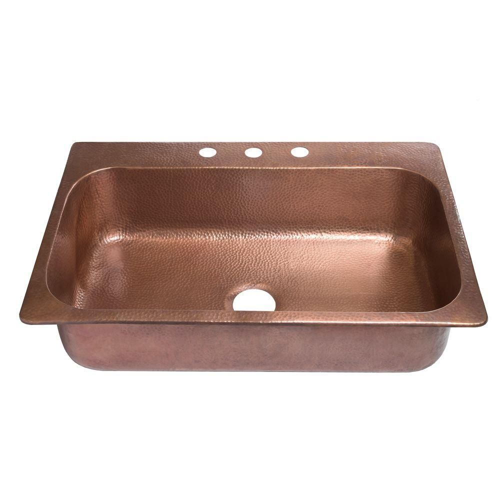Sinkology Angelico Drop In Handmade Pure Copper 33 In 3 Hole Single Bowl Kitchen Sink In Hammered Antique Copper Sk101 33ac With Images Copper Kitchen Sink Drop In Kitchen Sink