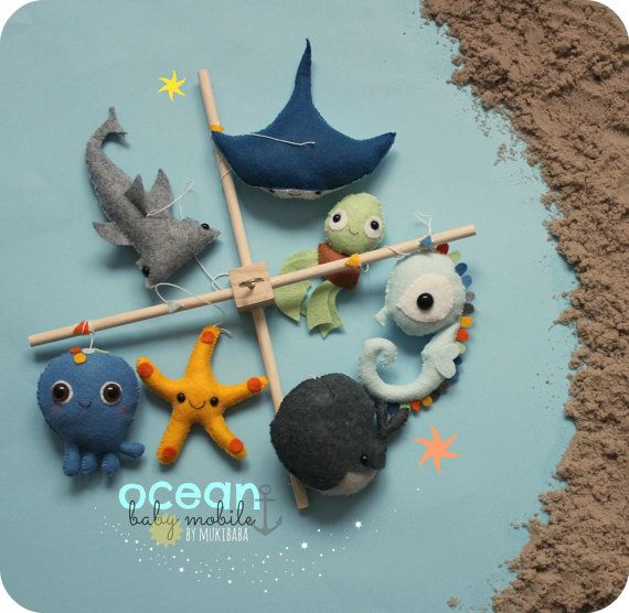 BABY MOBILE Baby Crib Mobile Under the sea Ocean baby by mukibaba