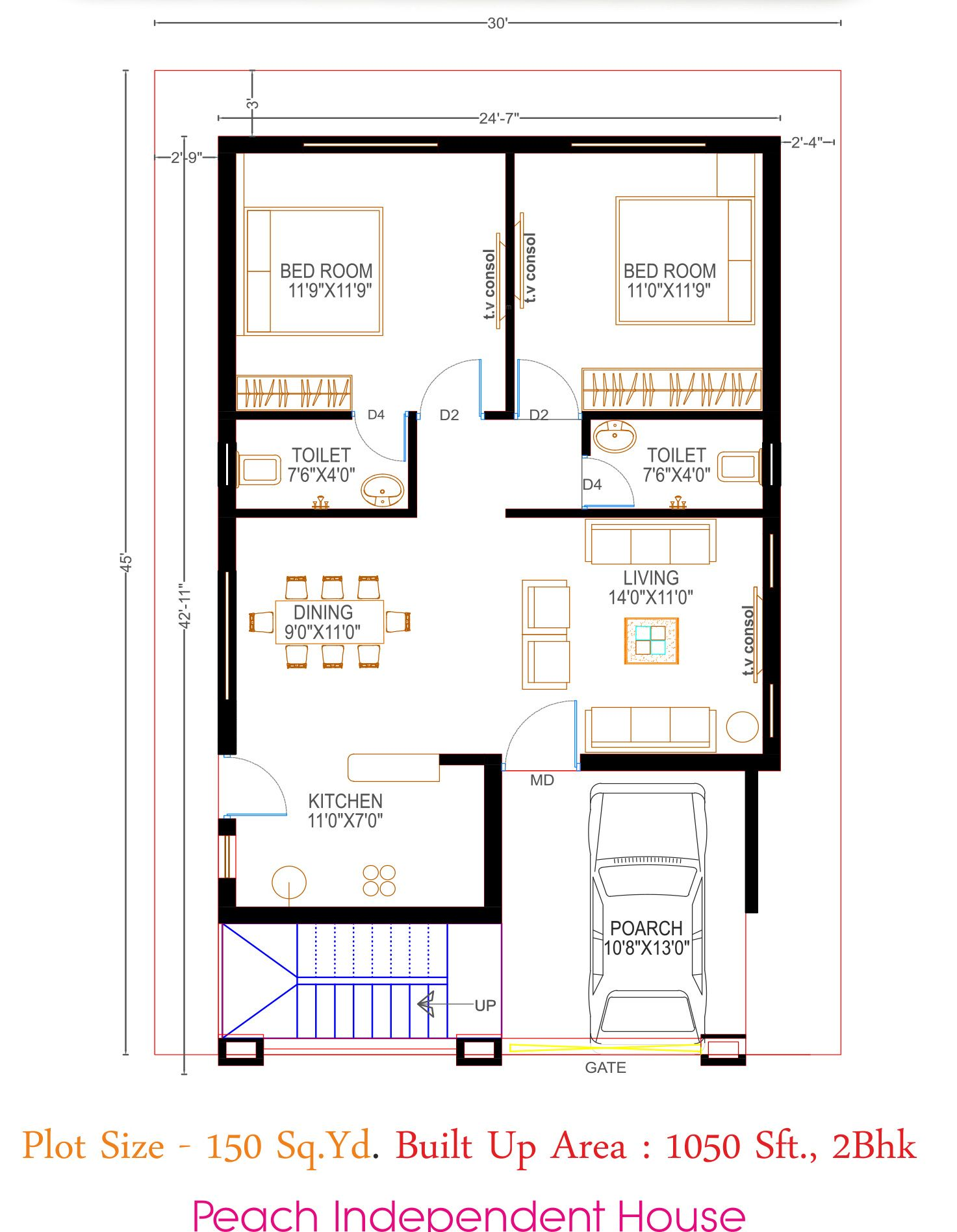 Image Result For Floor Plan 2bhk House Plan House Plans Indian House Plans