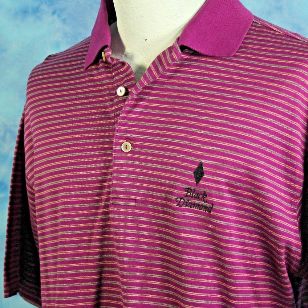 Peter Millar Golf Shirt Black Diamond Violet Striped
