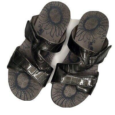 VIONIC Womens Size 7 M Grey Metallic Adjustable Strap Slip On Sandals High Inste  | eBay