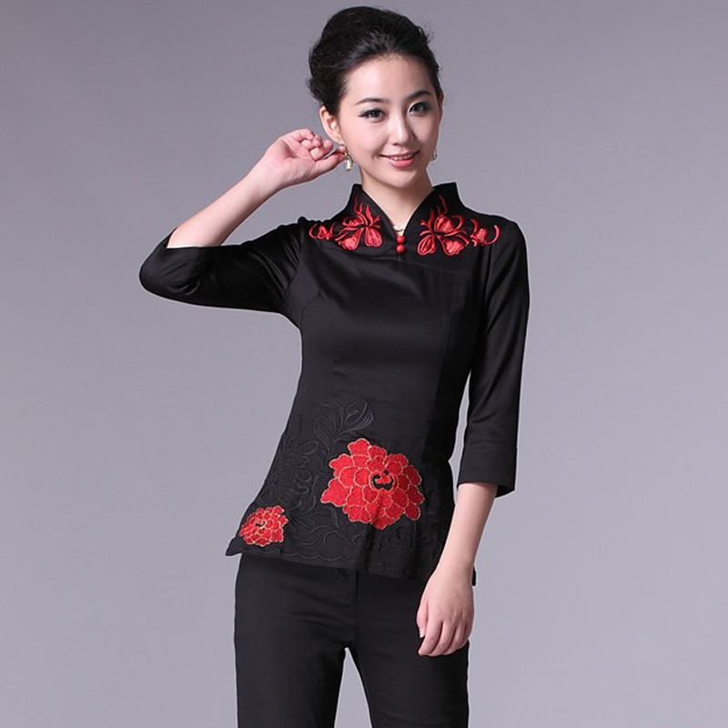 Open Neck Oriental Style Short Shirt - Green - Chinese Shirts ...