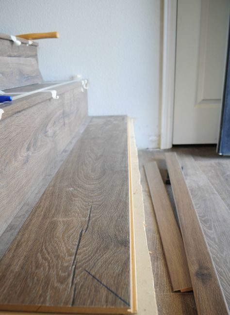 Jo S House Quick Step Stair Installation Process With Stairnose Laminate Stairs Laminate Flooring On Stairs Stair Installation