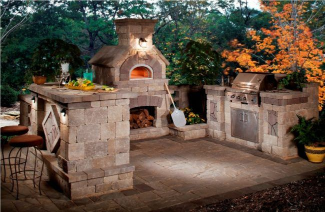 outdoor-küche für die terrasse klein ofen pizza stein bar theke - küche mit grill