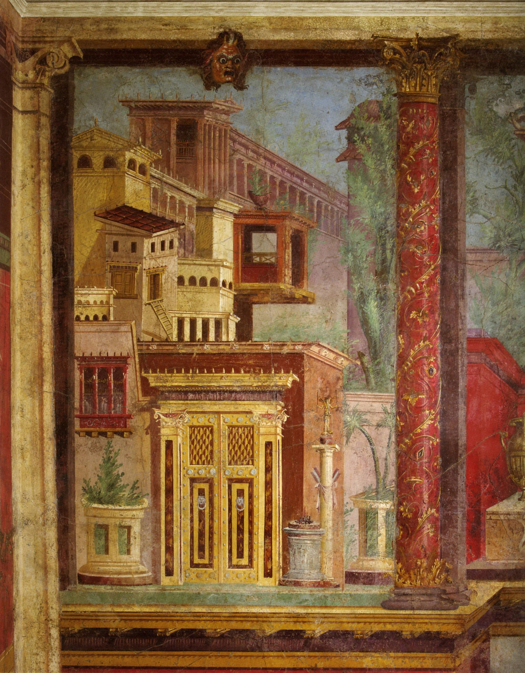 Fresco Wall Painting In A Cubiculum Bedroom From The
