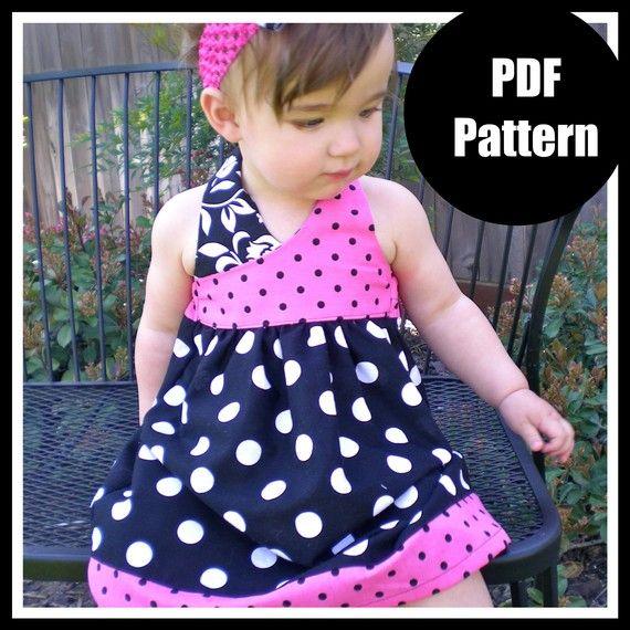 Las niñas vestido patrón patrón de costura PDF por pinkpoodlebows ...