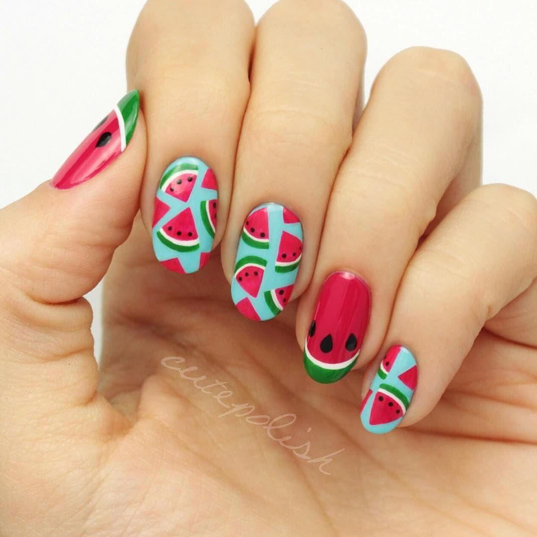 New Video Watermelon Nails Hannah Just Posted This Perfect Summer Mani On Cutepolish It S Giving Me Major Flashbacks To My Face Reveal From Way
