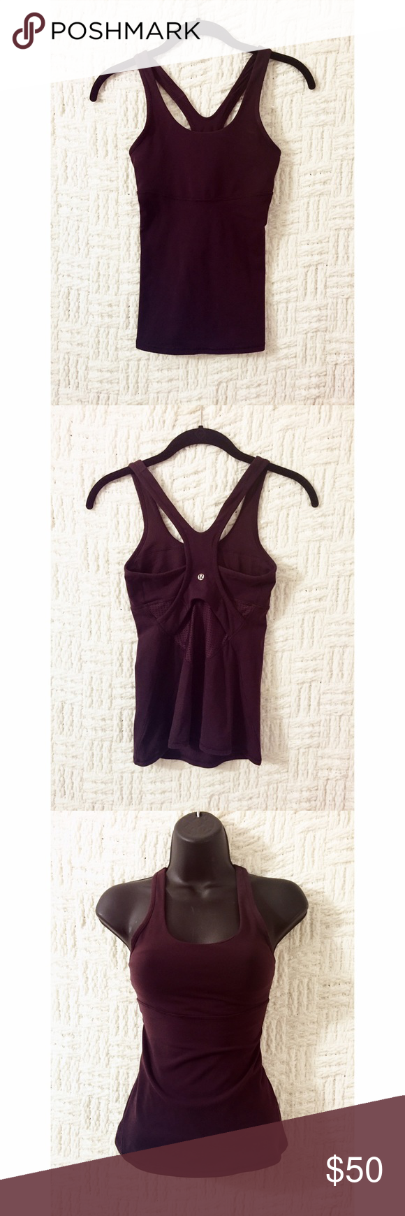 Lululemon Tank Dark burgundy / dark maroon Lululemon running / gym / yoga / workout tank with perforated back section.  Has inserts for padding; pads not included.  Pull tag removed; material is their signature Luon fabric.  Size 2.  No trades / modeling.  {box16} lululemon athletica Tops Tank Tops