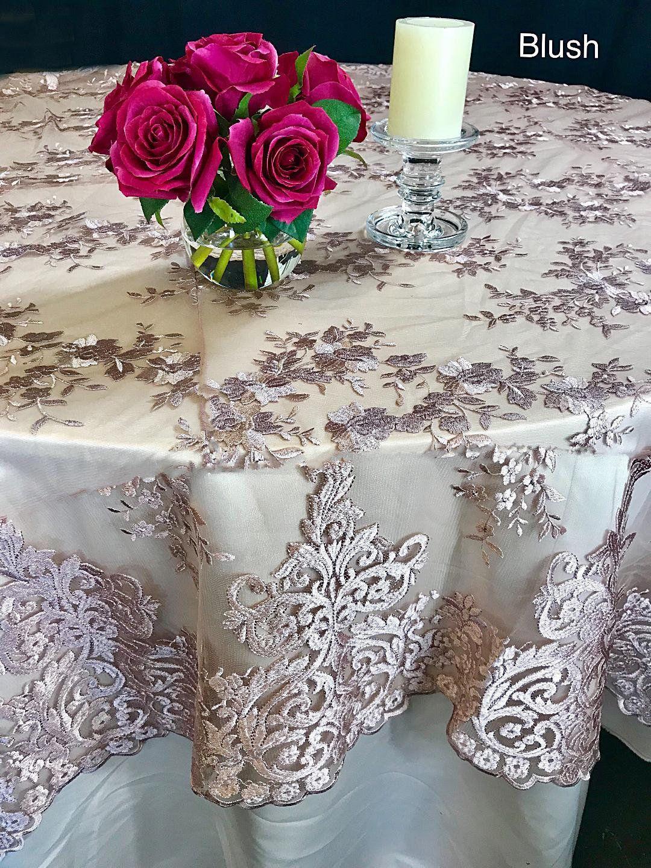 Blush Lace Tablecloth, Blush Lace Overlay, Wedding Decor, Table Cloth, Lace  Table Overlay, Wedding, Wedding Table Cloth, Table Overlay, ...