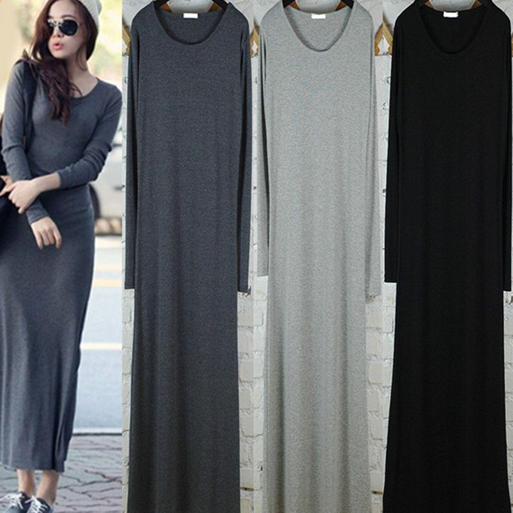 Stylish womenus cotton u neck long sleeve dress casual loose bodycon