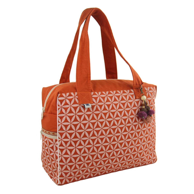 Flower of Life Retreat Bag Terracotta/Cream - Global Groove (B)