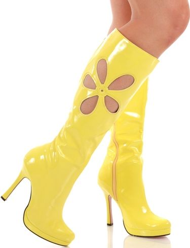 Yellow boots | Womens knee high boots