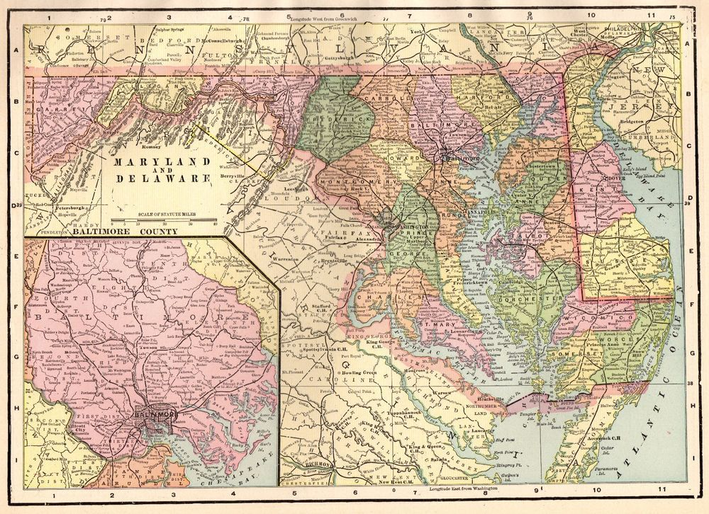 1898 Antique MARYLAND Map DELAWARE Map of Maryland and Delaware 2924 ...