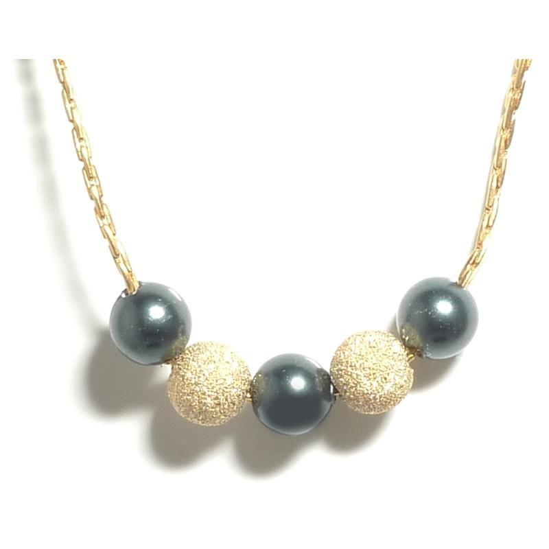 Aquaruby Tara Gold Black Pearl Necklace