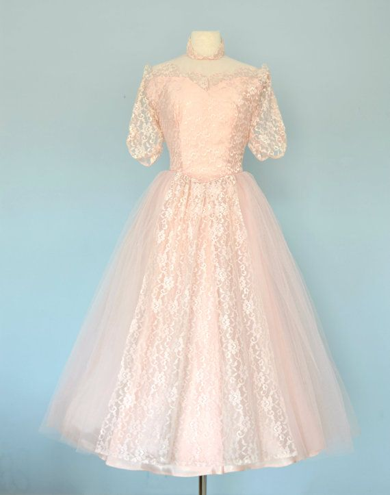 Vintage 1950s Wedding Dress...Ballerina Length Wedding Dress Medium ...