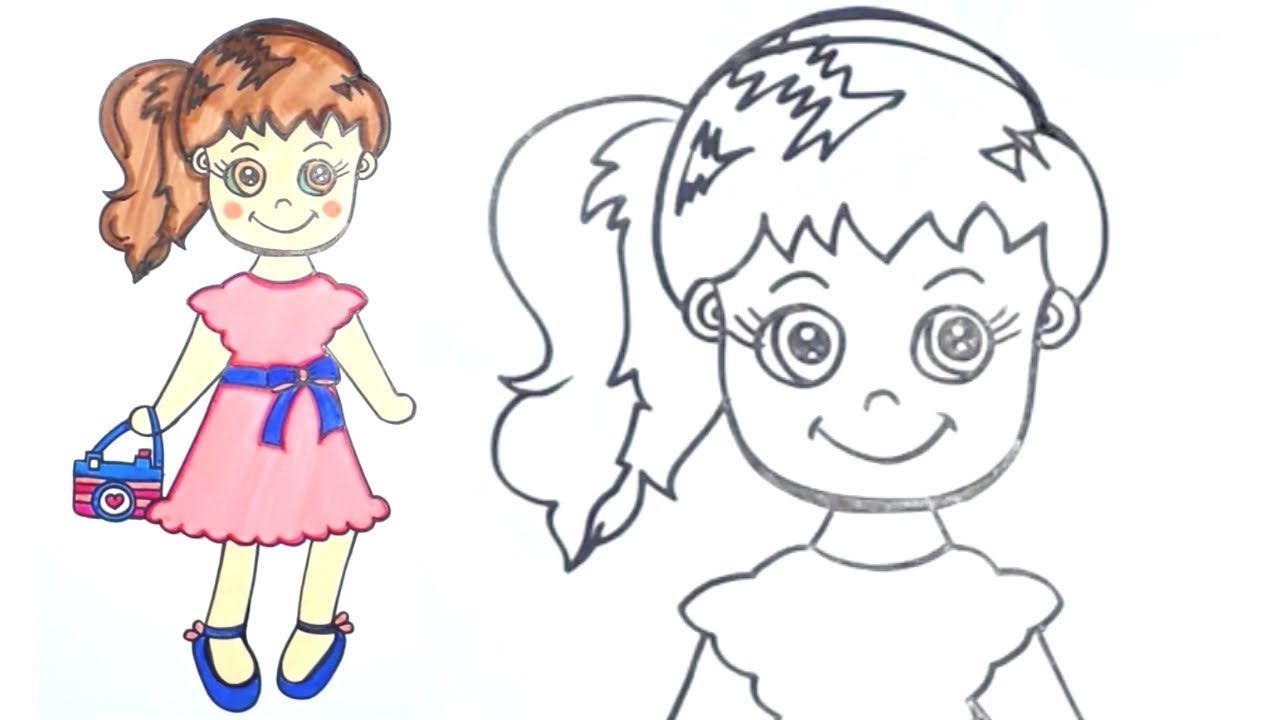 How To Draw Cute Girl Holding A Camera How To Draw For Kids Easyhow To Girl Drawing Kids Drawing For Kids Cute Drawings Easy Drawings Sketches