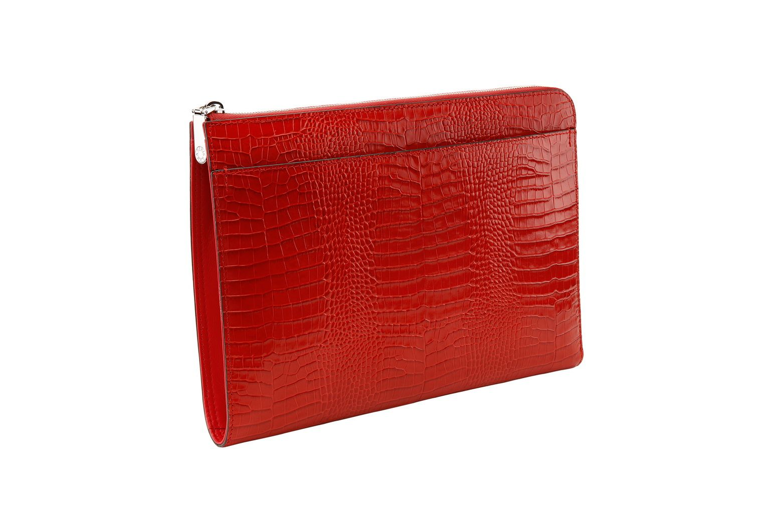 RED SNAKE-EFFECT LEATHER FOLIO