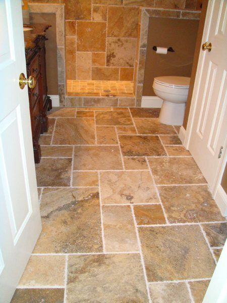 Cadocia Brushed Chiseled Travertine Tiles Laid In A French Pattern
