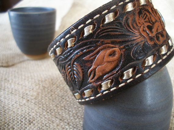 Vintage Western Leather Belt Bracelet Cuff Products I Love