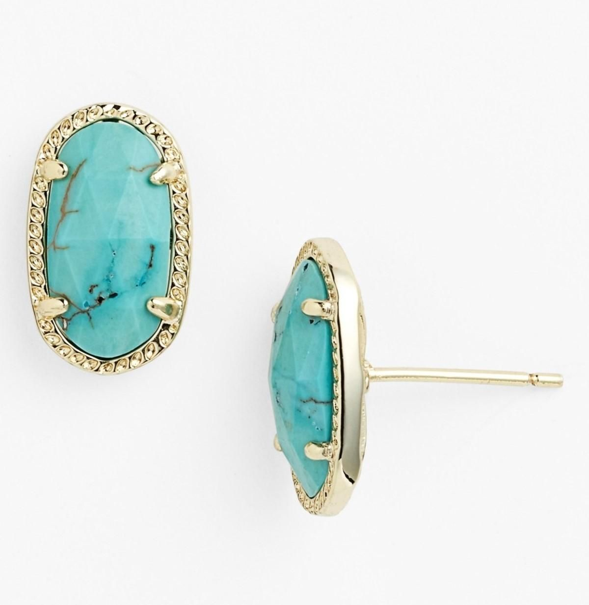 496fa48f8 Free shipping and guaranteed authenticity on NEW Kendra Scott 'Ellie' Small  Oval Stud Earrings, Turquoise, Gold, 4217709433 at Tradesy.