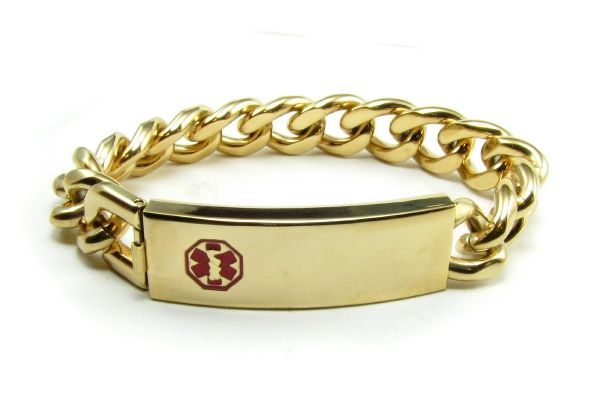 Gold Medical Id Bracelet For Men Gold Medical Bracelet Mens Gold Bracelets Bracelets For Men