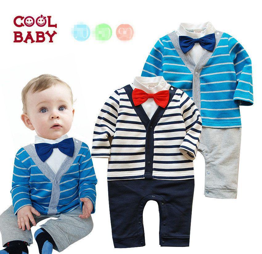 Nuevo conjunto de los bebés ropa de caballero otoño arriver Pajarita niños  juego de la raya bebe manga larga arropa los sistemas bebé wearATZ064 en ... 5547f44cfeb6