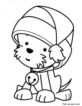 Printable Christmas Puppy With Santa Claus Hat Coloring Pages