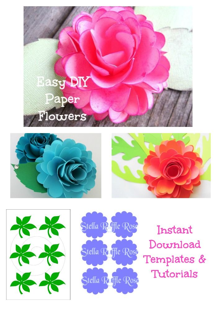Easy Diy Paper Roses Paper Rose Template And Tutorial Paper Etsy Flower Template Paper Roses Diy Diy Paper Flower Templates