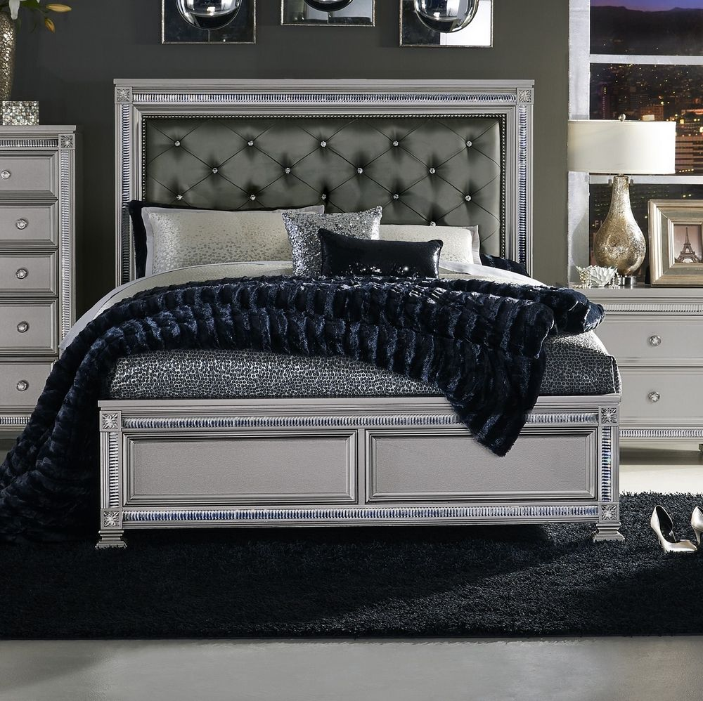 Bevelle Silver Dark Gray Vinyl Upholstered Queen Bed By Homelegance White And Silver Bedroom Luxurious Bedrooms Remodel Bedroom