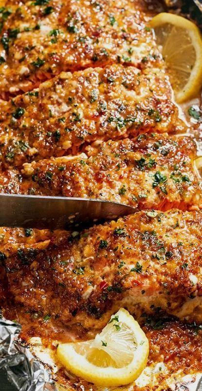 honey-garlic salmon in foil - perfect, clean dinner ... -  Baked honey-garlic salmon in foil – pe