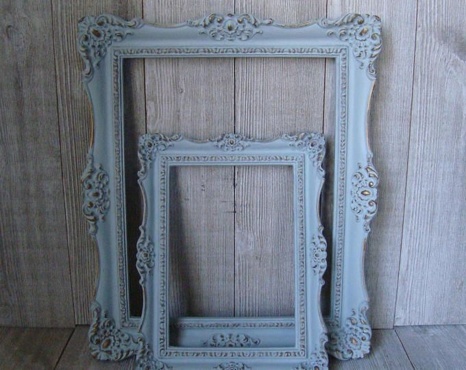 Shabby Chic Frames Pastel Mint Green Picture Frame Set Ornate ...