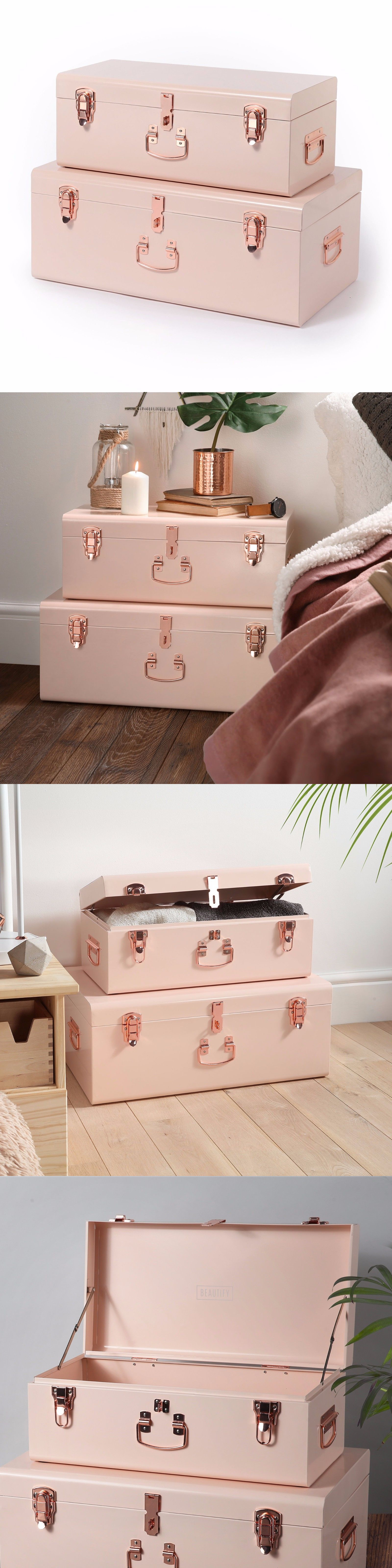 Delicieux Trunks And Chests 125085: Beautify Large Blush Pink Steel Storage Trunk  Chest Set Dorm Bedroom