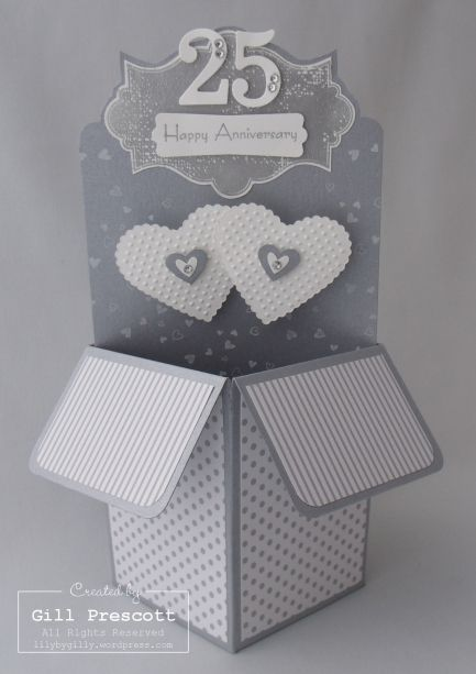 Silver Wedding Wishes Pop Up Box Card Wedding Cards Handmade Pop Up Box Cards Wedding Anniversary Cards