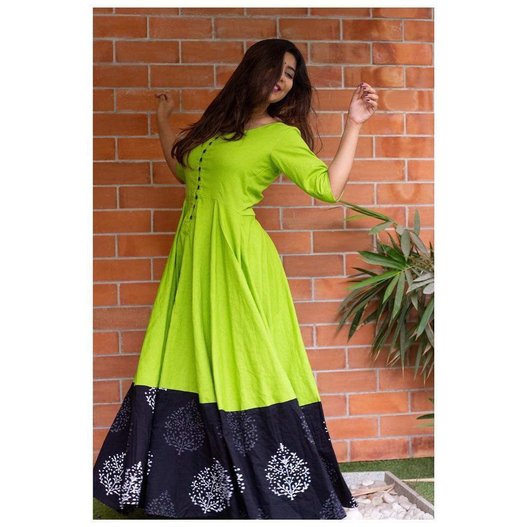trendy green with black anarkali | indische outfits