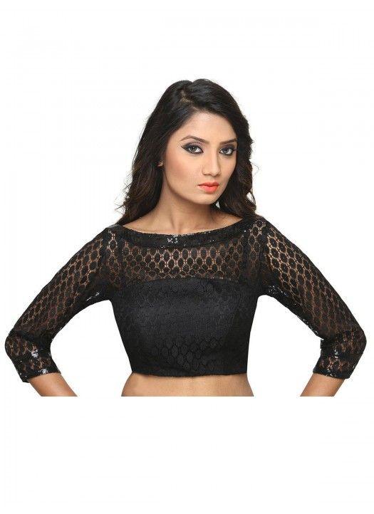 e243d4138210b Black Stylish Net Blouse Material Buy Online
