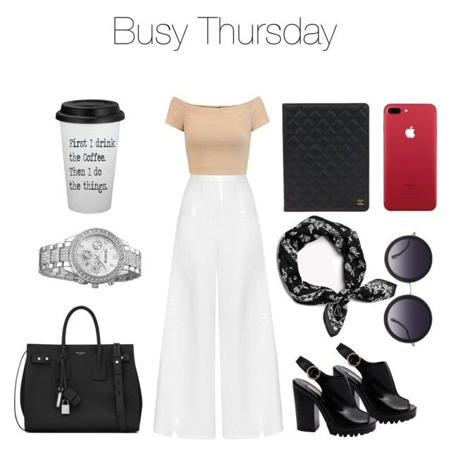 """Busy Thursday"" by itsamandamandy on Polyvore featuring Michael Kors, Miguelina, Alice + Olivia, Yves Saint Laurent, Chanel and rag & bone"