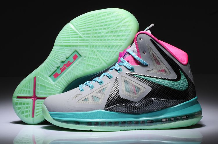 Nike LeBron 10 X South Beach Grey Pink Black Blue
