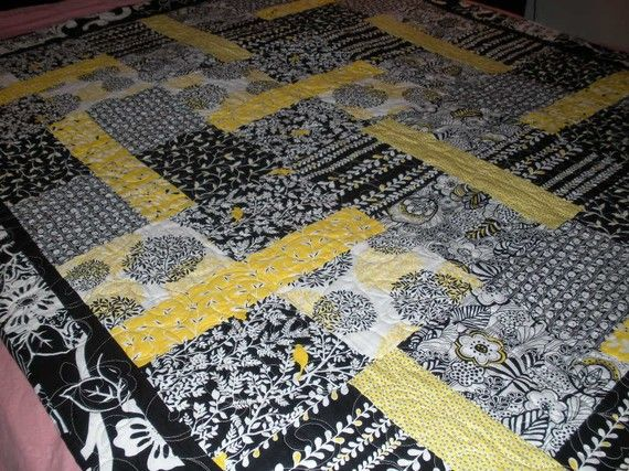 Yellow Black And White Quilt Black And White Quilts Yellow