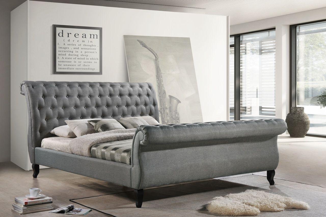 Luxeo luxkgry nottingham kingsize tufted sleigh upholstered