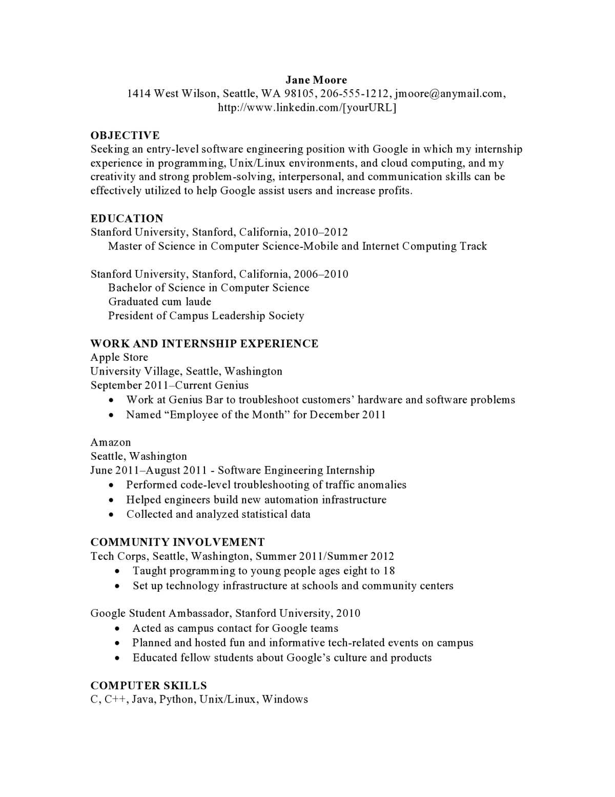 Apple Store Resume New Computer Software Entry Level Combination Resume  Get Ahead .
