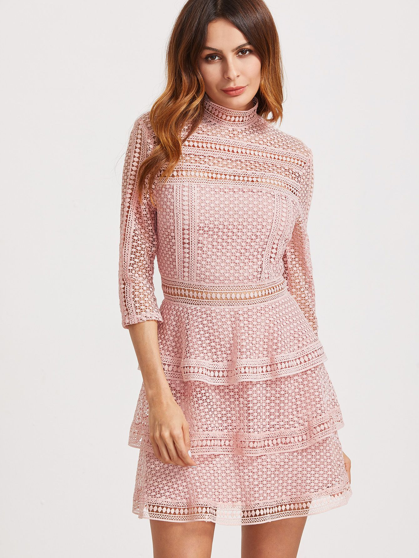 dfc0f5ff5c Shop Pink High Neck 3/4 Sleeve Layered Dotted Crochet Dress online. SheIn  offers Pink High Neck 3/4 Sleeve Layered Dotted Crochet Dress & more to fit  your ...