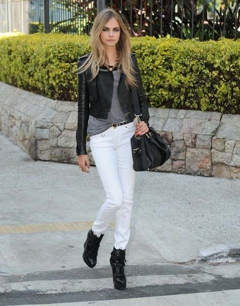 Black Leather Jacket T Shirt White Jeans Black Boots Black Satchel Cara Delevingne Style Fashion Star Fashion