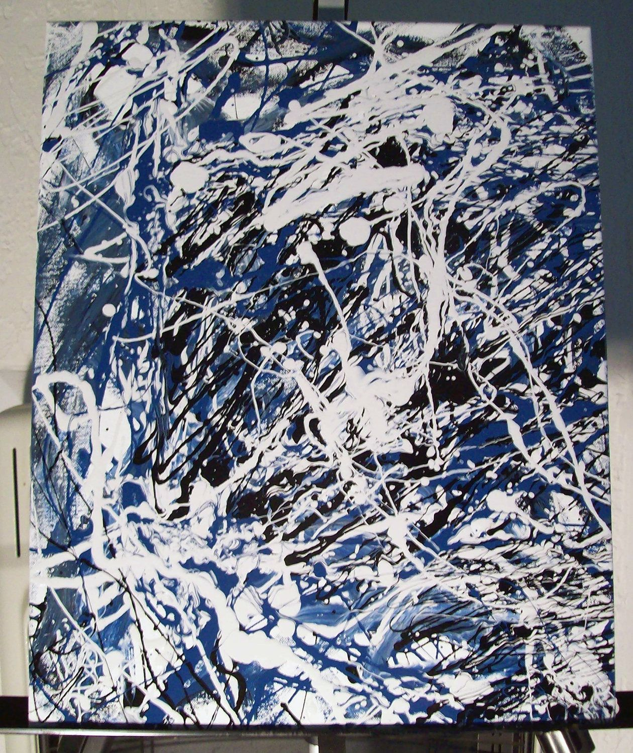 white light by jackson pollock jackson pollock painted white abstract expressionism original painting on canvas drip painting jackson pollock style ice 16x20 by matthew hatley