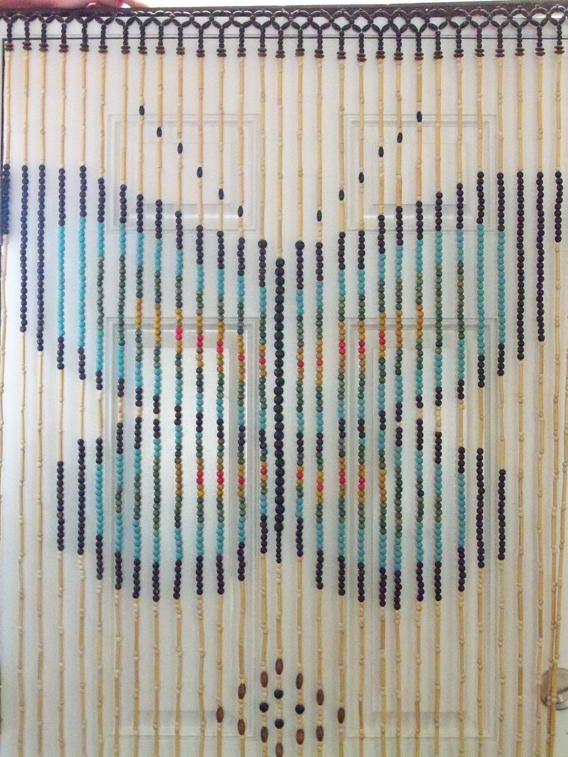 Vintage 70s Wooden Beaded Door Curtain With Butterfly Beaded