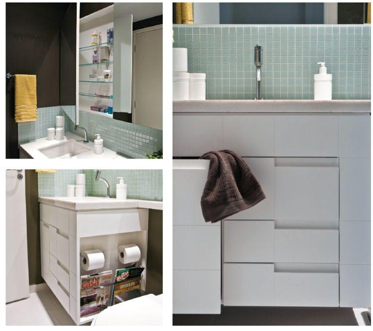 Armário que sustenta a cuba guarda papel higiênico e revisteiro na lateral S -> Armario Lateral Banheiro