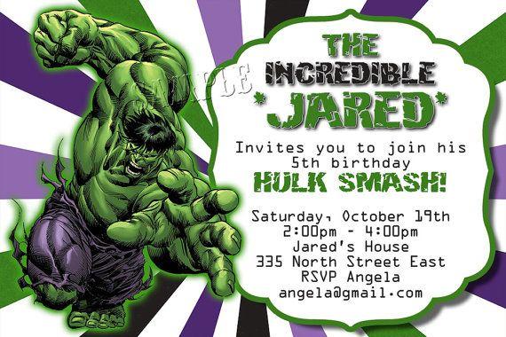 The Hulk Birthday Invitation Custom Digital By Finaltouchesartwork Hulk Birthday Hulk Party Hulk Birthday Parties