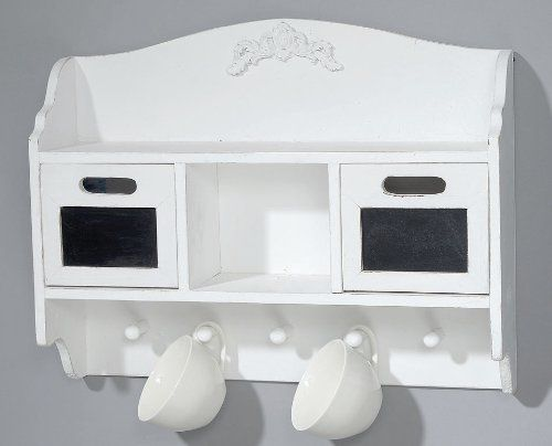 Wandregal weiß Smina 60x48x15cm Holzregal Tassenregal Garderobe - wandregal für küche
